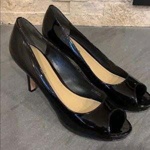 Via Spiga black patent peep toe heels size 8.5